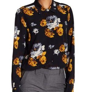 Theory Sunaya B. Silk Floral Print Blouse